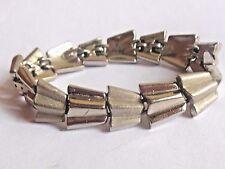 Vintage 1950's/60's silver tone shiny matte CROWN TRIFARI designer link bracelet
