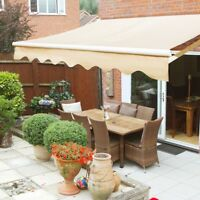Outdoor 8'x 6' Manual Retractable patio deck awning sun shade shelter canopy tan