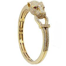 18k Yellow Gold Diamond Panther Bangle Bracelet