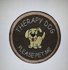 Brown Embroidered Sew-On Patch-THERAPY DOG PLEASE PET ME
