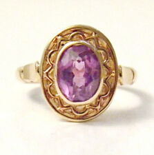 Antique Vintage RUSSIAN 14K Rose Gold 583 Amethyst Filigree Ring Size 5.25