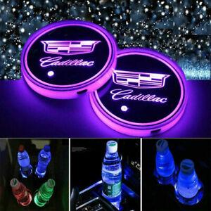For Cadillac 2PCS Car Cup Holder Pad LED Coaster Light 7 Colors USB Charging Mat