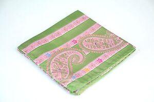 Lord R Colton Masterworks Pocket Square - Sannibel Lime Pink Stripe Silk - New