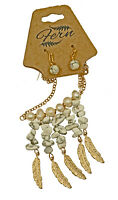 Gold Tone Feathers with White Turquoise Necklace & Earing Set