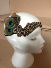 1920s Peacock Feather Flapper Headband Vintage Headpiece Great Gatsby