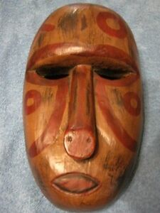 2 Hand Carved Painted Wood Wall Hanging  Mask.... lot of 2
