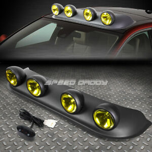 UNIVERSAL 4X4 BLACK FRAME YELLOW TINT LENS OFF-ROAD ROOF MOUNTED RALLY FOG LIGHT