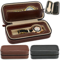 2 Slots Superior PU Leather Watch Box Zippered Travel Display Storage Case Gift