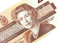 1986 Canada 2 Two Dollar CBH Prefix Uncirculated Canadian Banknote L048