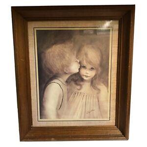"""Margaret Kane A Little Kiss Vintage Big Eye Boy & Girl Wood Framed 20"""" x 17"""""""