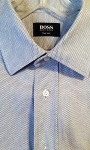BOSS Hugo Boss TWO-PLY WOVEN Blue/Gray/White DRESS SHIRT 100% COTTON 16.5/42 EUC