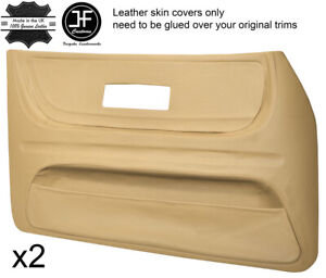 BEIGE LEATHER 2X FRONT FULL DOOR CARD TRIM COVERS FITS SAAB 900 CLASSIC 78-93