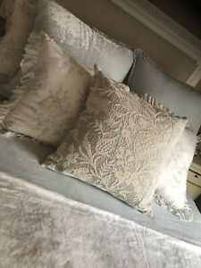 Rachel Ashwell Shabby Chic Couture RARE Blue Watercolor Chenille Pillow Nw 24x24