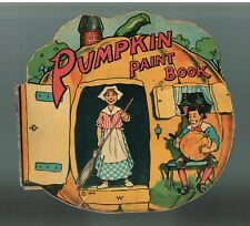 Antique 1916 Children's Coloring Book PUMPKIN PAINT BOOK Saalfield Publishing