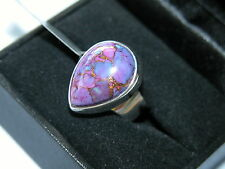 LOT 258 STUNNING PURPLE COPPER TURQUOISE SOLID STERLING SILVER RING SIZE I 1/2