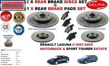 Für Renault Laguna II 2001-2005 Hinten ABS Set Bremsscheiben+Beläge+Radlager Set