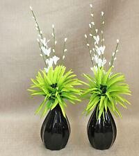 Artificiale (Set di 2) SETA Lime Verde PHOENIX in nero zucca in ceramica vasi