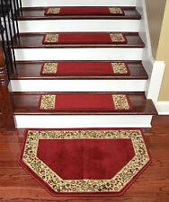 "Dean Tape Free Pet Friendly Carpet Stair Treads Talas Floral Red 31""x9"" w/Mat"