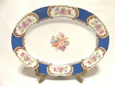 GOLD CASTLE GCA2 OVAL SERVING PLATTER MULTI COLR FLOWERS GOLD TRIM BLUE BAND