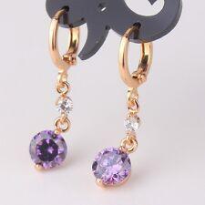 Fashion jewellery! purple sapphire twinkling 18k gold filled dangle earring
