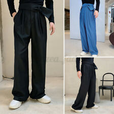 Mens Chino Pants Loose Fit Casual Wide Leg Plain Trousers Fashion Party Pants UK