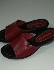 """Montego Bay Club Leather Collection Women's Red Slip On Sandals with 2"""" Heel"""