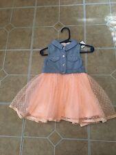 Beautiful Little Lass Todler Dress Peach And Blue EUC Size 12 Months