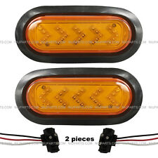 """2pc 6"""" Oval 25 Diodes Amber/Amber Arrow Shaped LED lights with Rubber Grommet"""