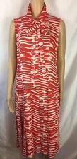 NEW! CAbi Brushstroke Red Ivory Size M Pleated Sleeveless Drop Waist Shirt Dress