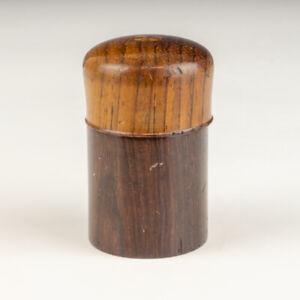 Antique Inlaid Dark Wood - Miniature Pocket Travel Inkwell Ink Bottle