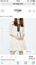 Maje Wool Dress Cream The Outnet.com Size 2 UK 10 RRP £369