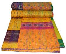 Indian Kantha Quilt Patola Silk Patchwork Cotton Bedspread Ethnic Vintage Throw
