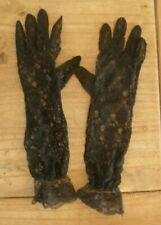 GORGEOUS FANCY BLACK LONG LINE GLOVES SIZE SMALL