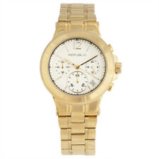 Republic Womens Gold Tone Stainless Steel Runway Chronograph Watch RP1090