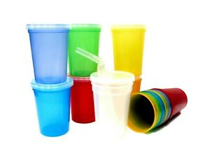 14 Small 12 Oz Plastic Drinking Glasses/ Cups, Lids & Straws Mfg.USA Lead Free