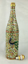 Gold Painted handmade White Marble Champagne/wine Bottle Set with Glass