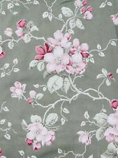 """Pair Vintage green & pink 80s unlined cotton Curtains floral W67 L59"""""""