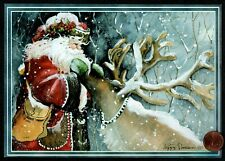 Christmas Santa Claus Reindeer Trees - Silver Shine - Christmas Greeting Card