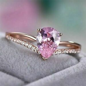 2Ct Pear Cut Pink Sapphire Diamond Engagement Ring in 14K Rose Gold Finish