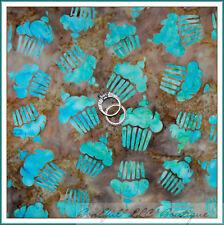BonEful Fabric FQ Cotton Quilt VTG S Brown Teal Blue Aqua BATIK Cupcake Birthday