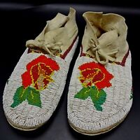 MUSEUM QUALITY Vintage Native American 1950s SHOSHONE Beaded WEDDING MOCCASINS