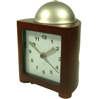 Michael Graves Brown Wood Table Alarm Clock Silver Dome Bell Quartz Square Taper