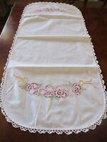 Vintage hand embroidered purple pansy wt. table runner w/ crochet edging 41 x 17