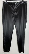 Asos Black Shiny Stretch Jersey Skinny Fit Trousers Size 18 Curve