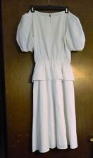 Womens dress white lace collar elastic waist size M or L