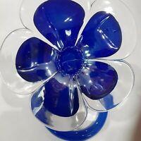 Murano Hand Blown Blue Glass Flower (Original Label)