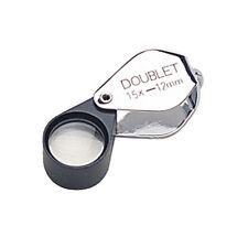 12 MM 15X Chrome/Black Double Eye Loupe Jewelry Diamond Inspection Magnifier