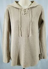 Beige Tan Knit Sweater One Step Up Laced Up V Neck Broad Collar Womens Small