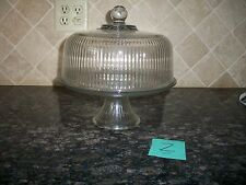 HEAVY GLASS CAKE PEDESTAL STAND PLATE RIBBED DOME LID CUP CAKE PUNCH BOWL MONACO