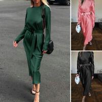Womens Elegant Bodycon Satin Dress Fashion Long Sleeve Formal Dresses Plus Size